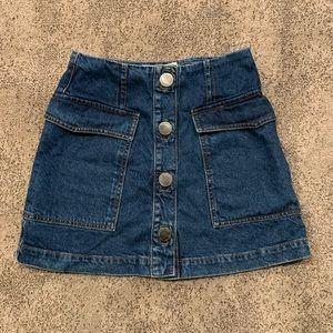 Topshop | Moto Button Front Denim Skirt